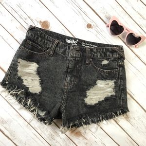 Mossimo Black Distressed High Rise Short Shorts 2